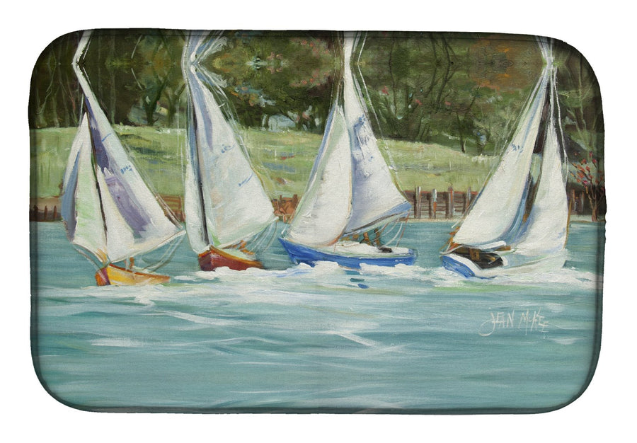 Buy this Sailboats on the bay Dish Drying Mat JMK1035DDM
