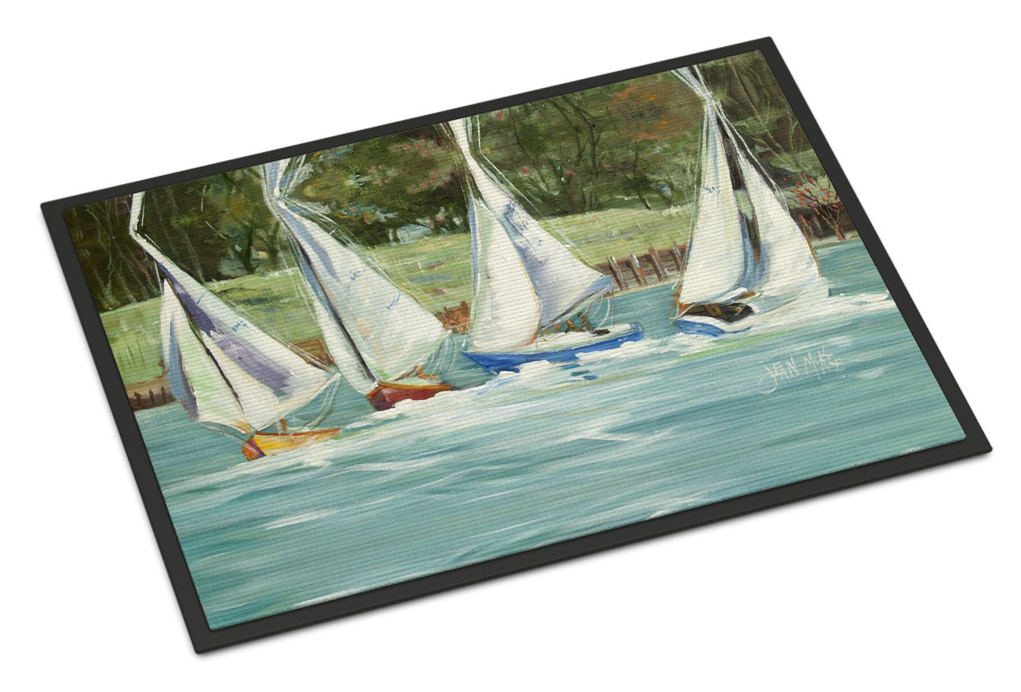 Sailboats on the bay Indoor or Outdoor Mat 18x27 JMK1035MAT by Caroline's Treasures