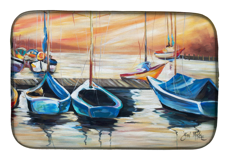 Buy this Beach View with Sailboats Dish Drying Mat JMK1038DDM