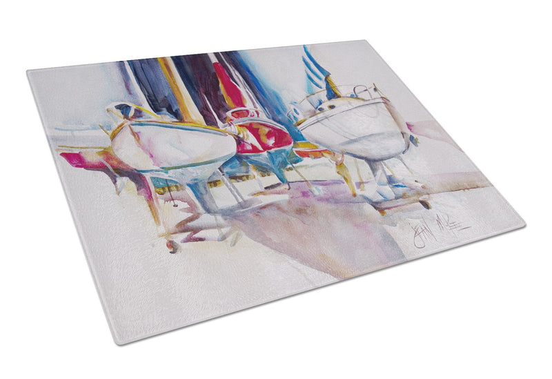 Buy this Sailboats in Dry Dock Glass Cutting Board Large JMK1039LCB