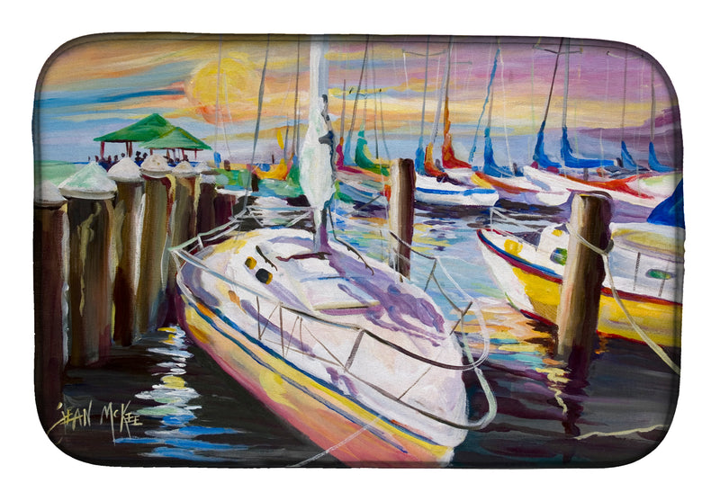 Buy this Sailboats at the Fairhope Yacht Club Docks Dish Drying Mat JMK1044DDM