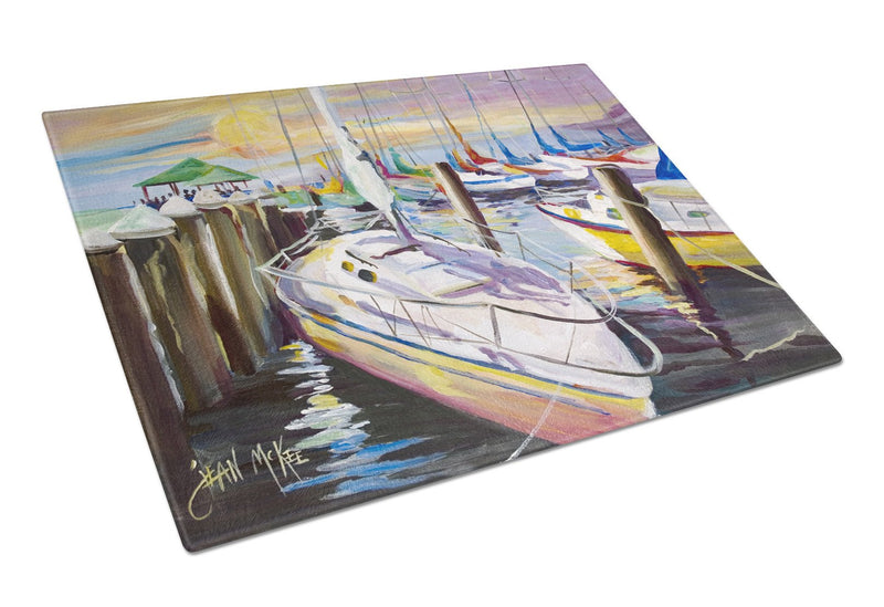 Buy this Sailboats at the Fairhope Yacht Club Docks Glass Cutting Board Large JMK1044LCB