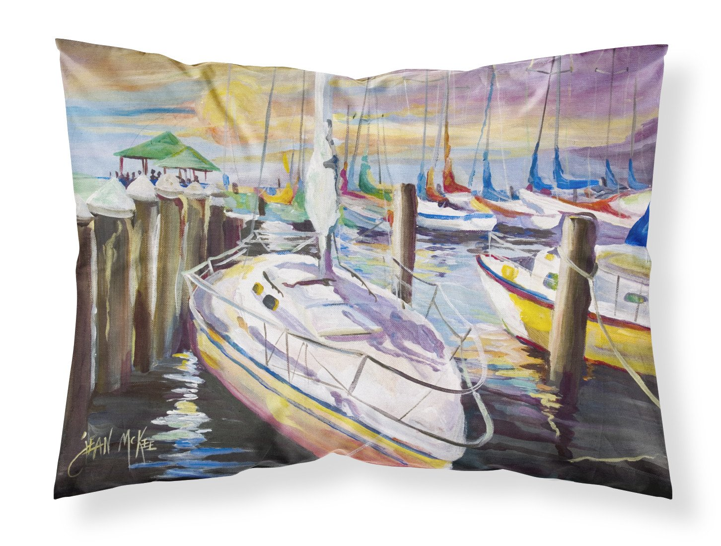 Sailboats at the Fairhope Yacht Club Docks Fabric Standard Pillowcase by Caroline's Treasures