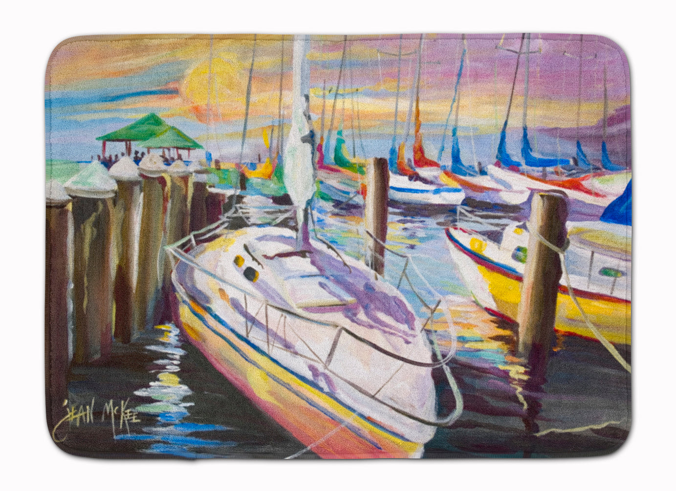Buy this Sailboats at the Fairhope Yacht Club Docks Machine Washable Memory Foam Mat JMK1044RUG