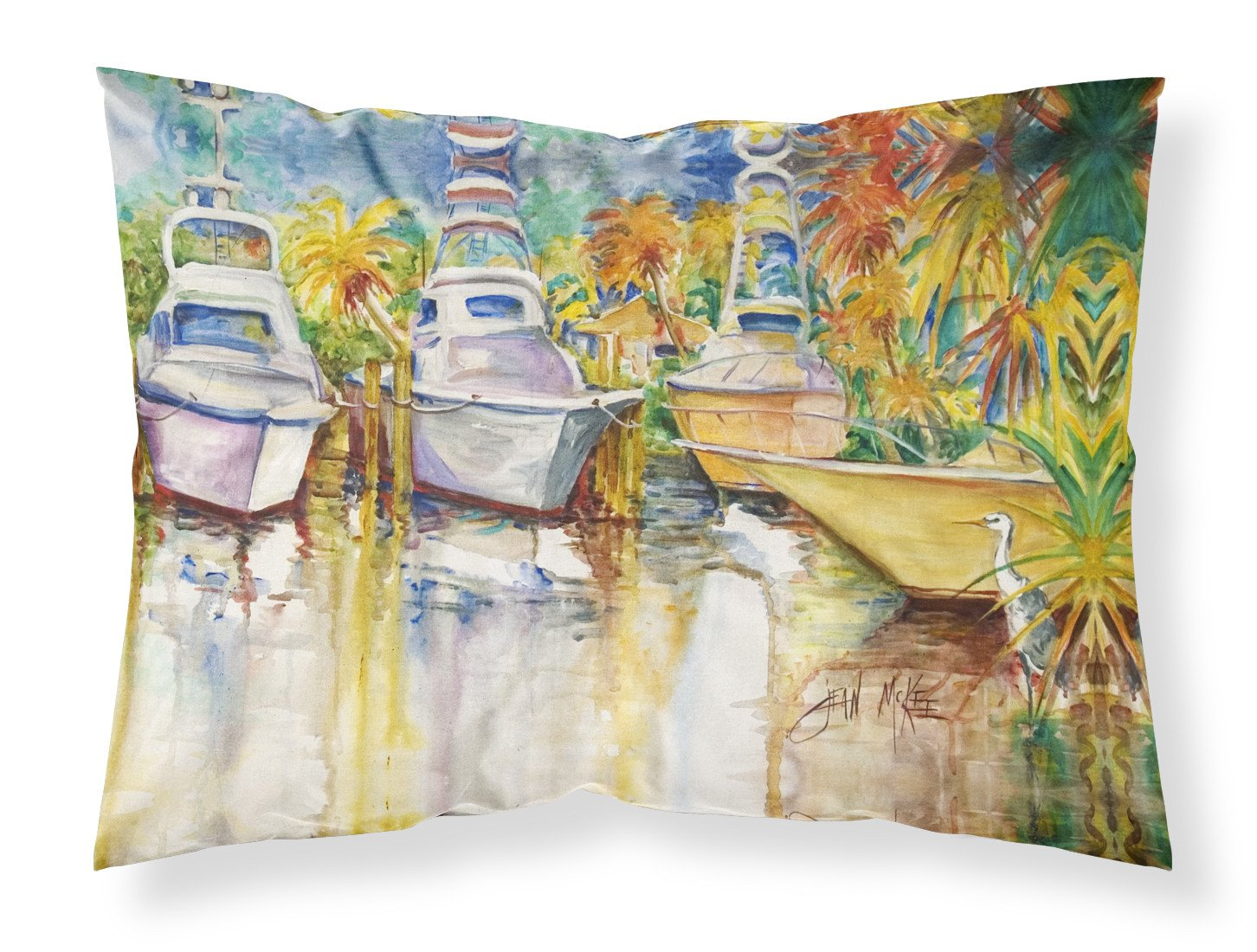 Buy this Blue Heron and Deep Sea Fishing Boats Fabric Standard Pillowcase