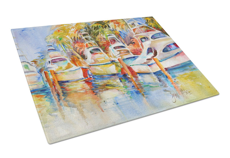 Buy this Deep Sea Fishing Boats at the Dock Glass Cutting Board Large JMK1052LCB