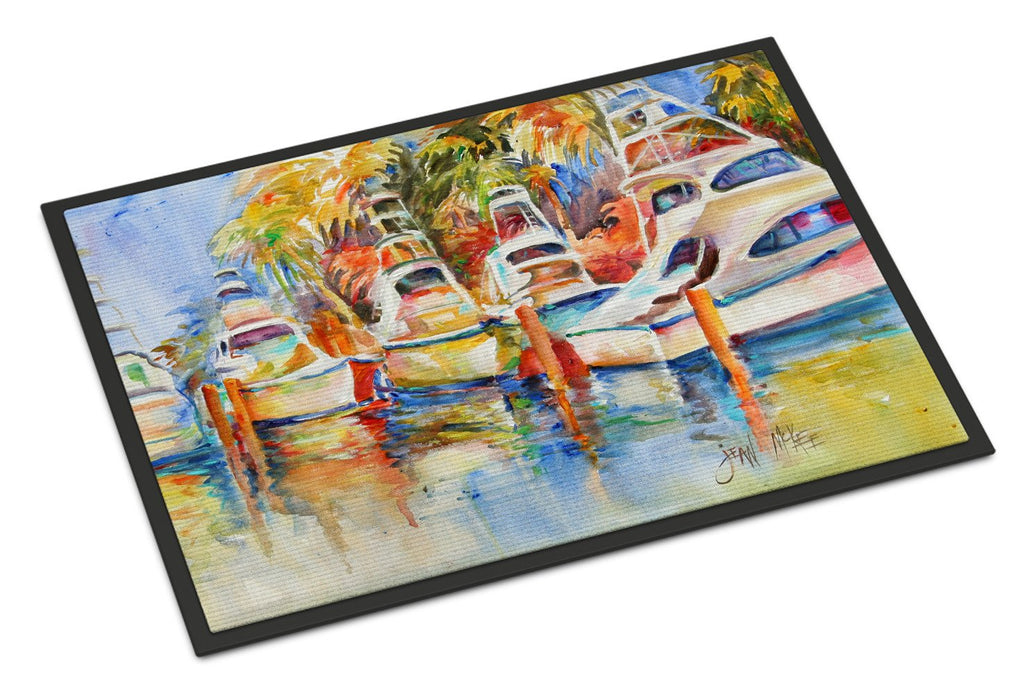 Buy this Deep Sea Fishing Boats at the Dock Indoor or Outdoor Mat 18x27 JMK1052MAT