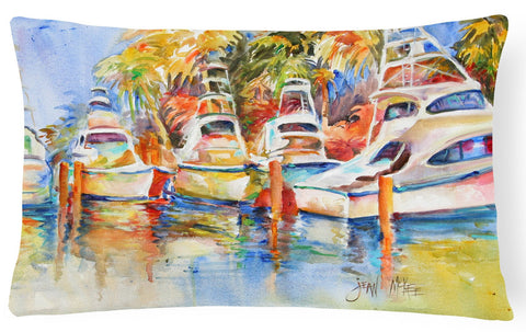 Buy this Deep Sea Fishing Boats at the Dock Canvas Fabric Decorative Pillow JMK1052PW1216