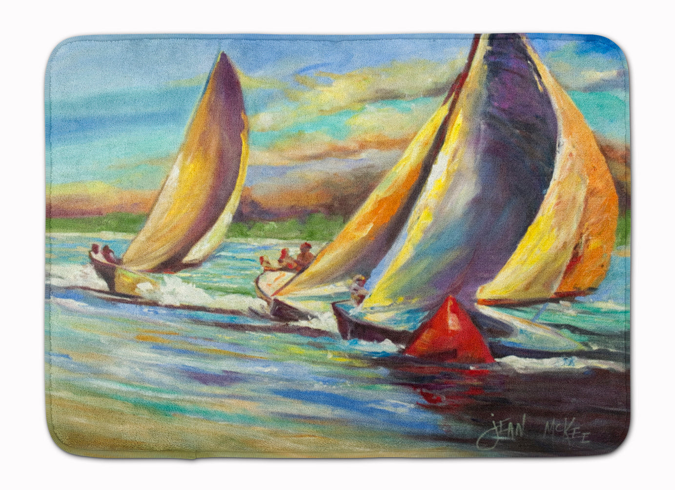 Knost Regatta Pass Christian Sailboats Machine Washable Memory Foam Mat JMK1057RUG by Caroline's Treasures