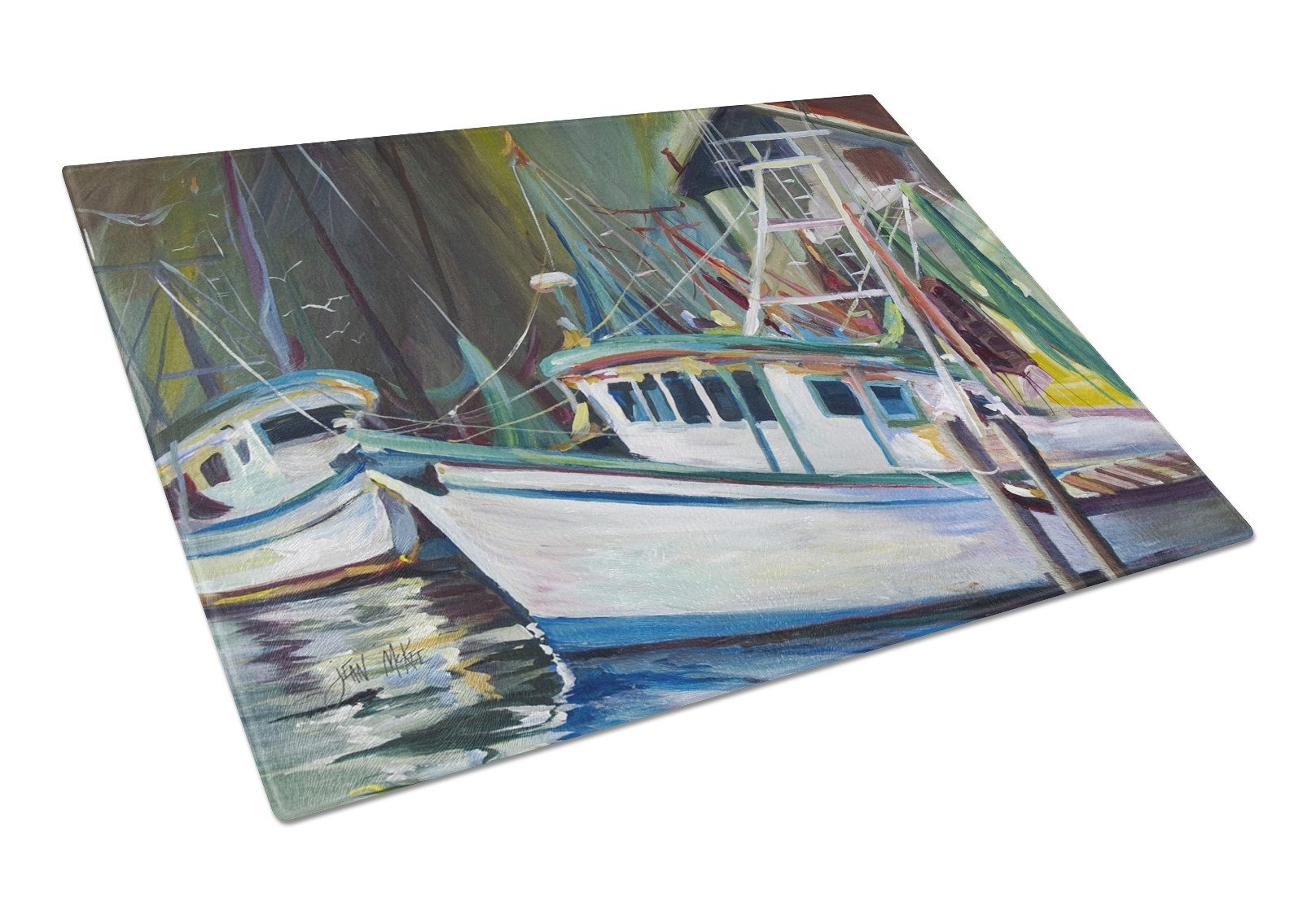Joe Patti Shrimp Boat Glass Cutting Board Large JMK1058LCB by Caroline's Treasures