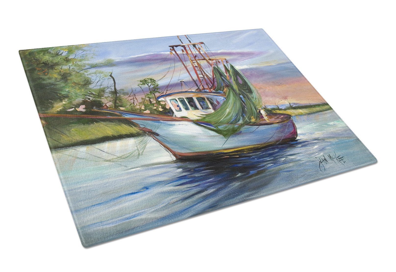 Jeannie Shrimp Boat Glass Cutting Board Large JMK1059LCB by Caroline's Treasures