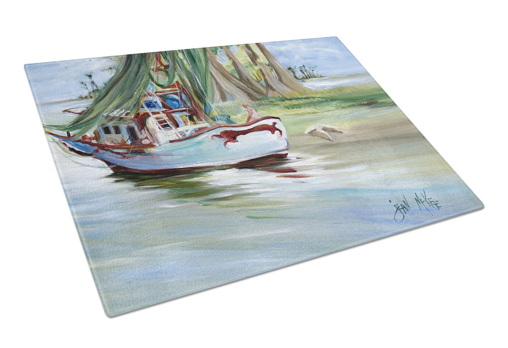 Jeannie Shrimp Boat Glass Cutting Board Large JMK1060LCB by Caroline's Treasures