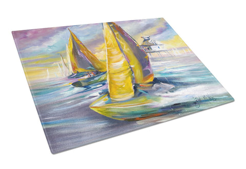 Buy this Sailboat with Middle Bay Lighthouse Glass Cutting Board Large JMK1061LCB