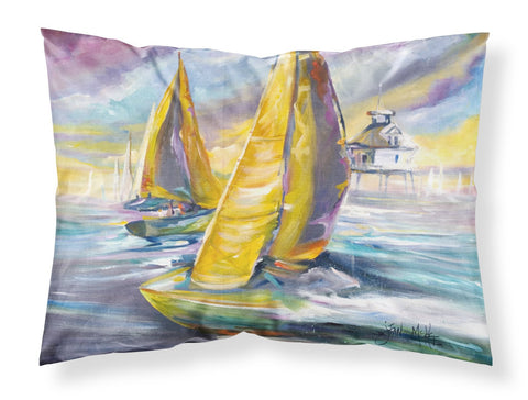Buy this Sailboat with Middle Bay Lighthouse Fabric Standard Pillowcase JMK1061PILLOWCASE
