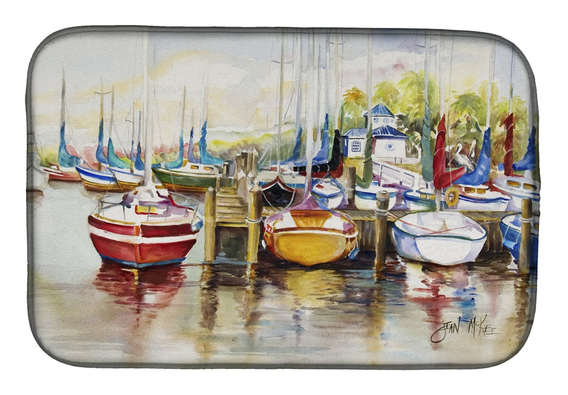 Buy this Paradise Yacht Club II Sailboats Dish Drying Mat JMK1064DDM