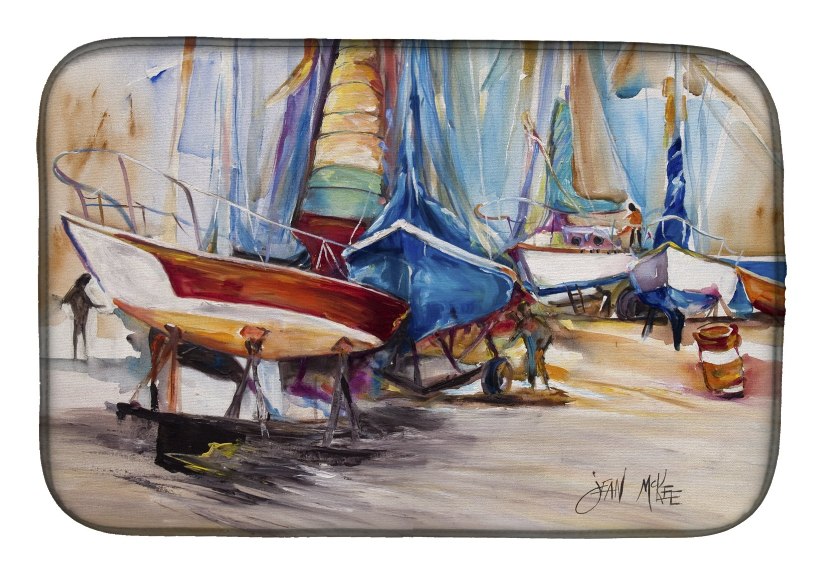 Buy this On the Hill Sailboats Dish Drying Mat JMK1066DDM