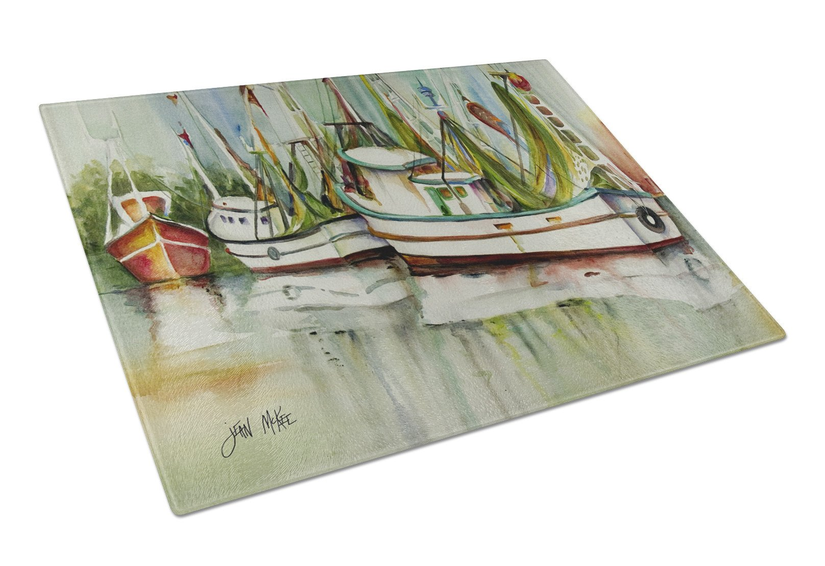 Ocean Springs Shrimper Glass Cutting Board Large JMK1067LCB by Caroline's Treasures