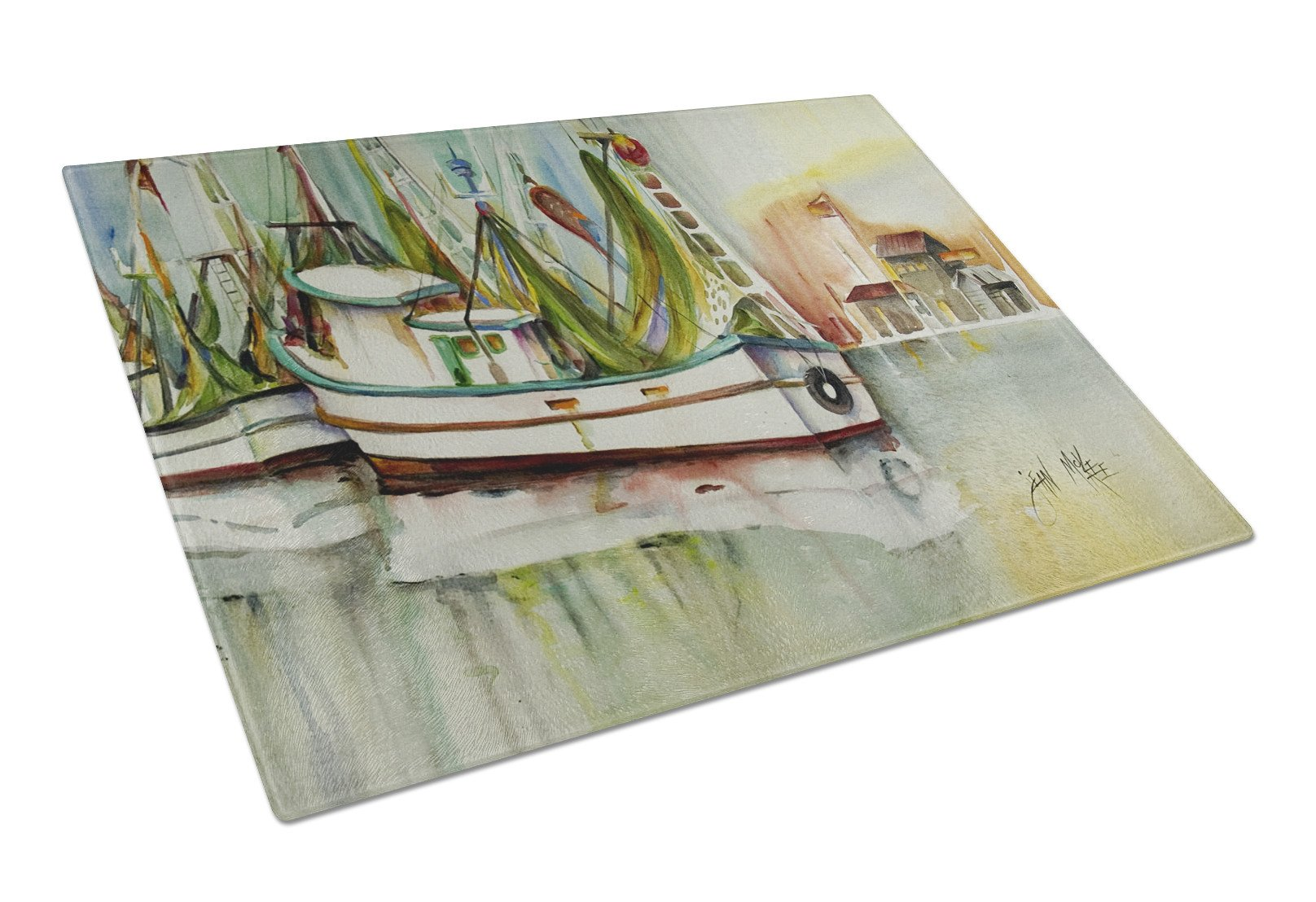 Ocean Springs Shrimper Glass Cutting Board Large JMK1068LCB by Caroline's Treasures