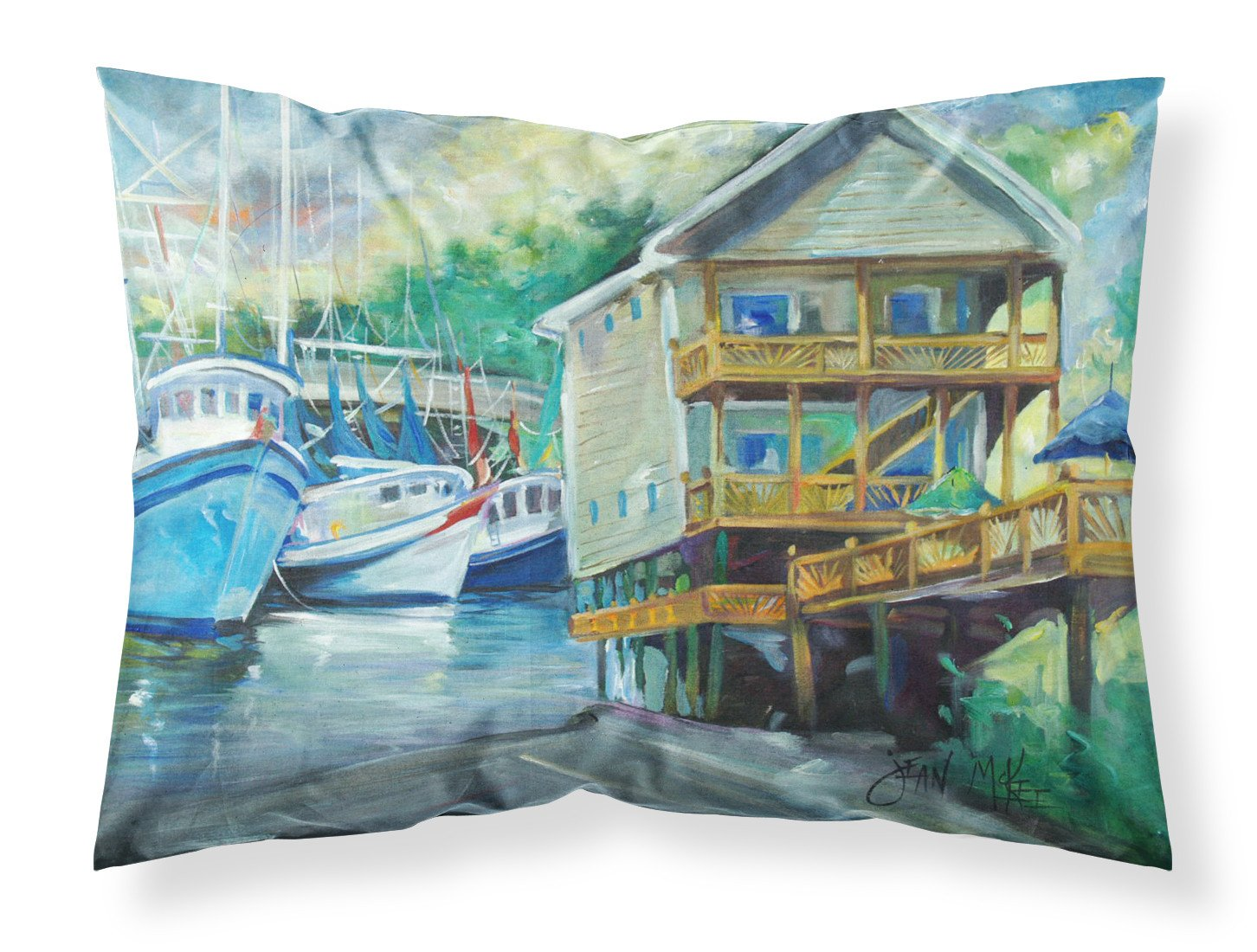 Ocean Springs Harbour Landing Fabric Standard Pillowcase JMK1069PILLOWCASE by Caroline's Treasures