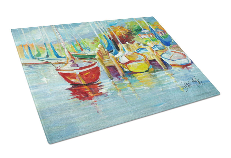 Buy this On the Dock Sailboats Glass Cutting Board Large JMK1070LCB