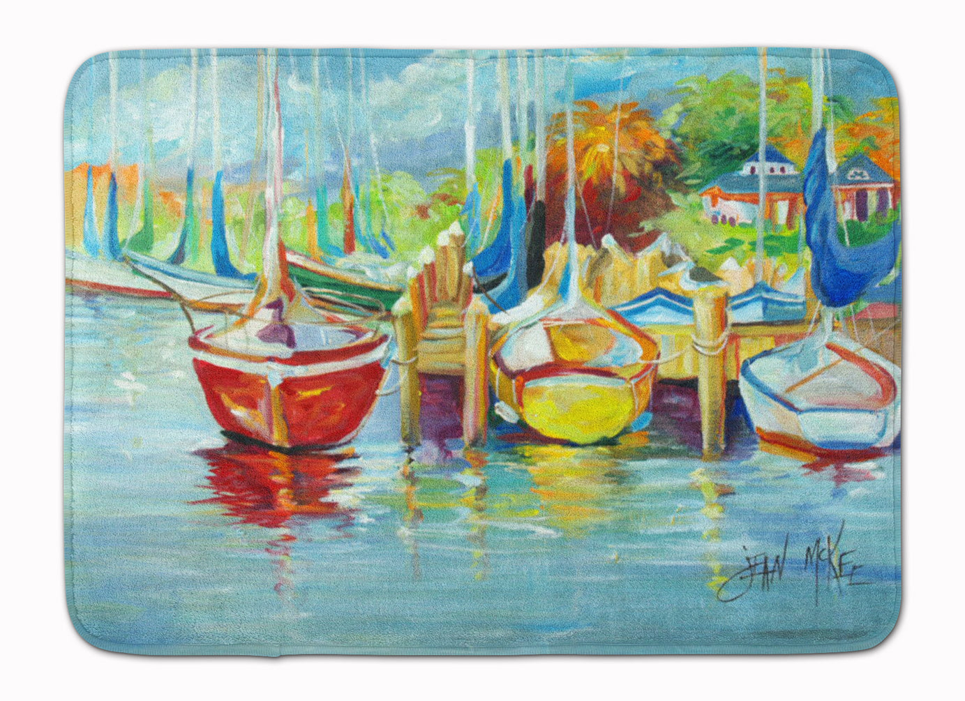 Buy this On the Dock Sailboats Machine Washable Memory Foam Mat JMK1070RUG