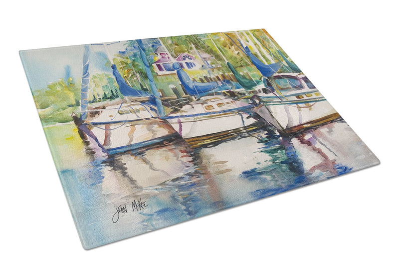 Buy this Safe Harbour Sailboats Glass Cutting Board Large JMK1071LCB