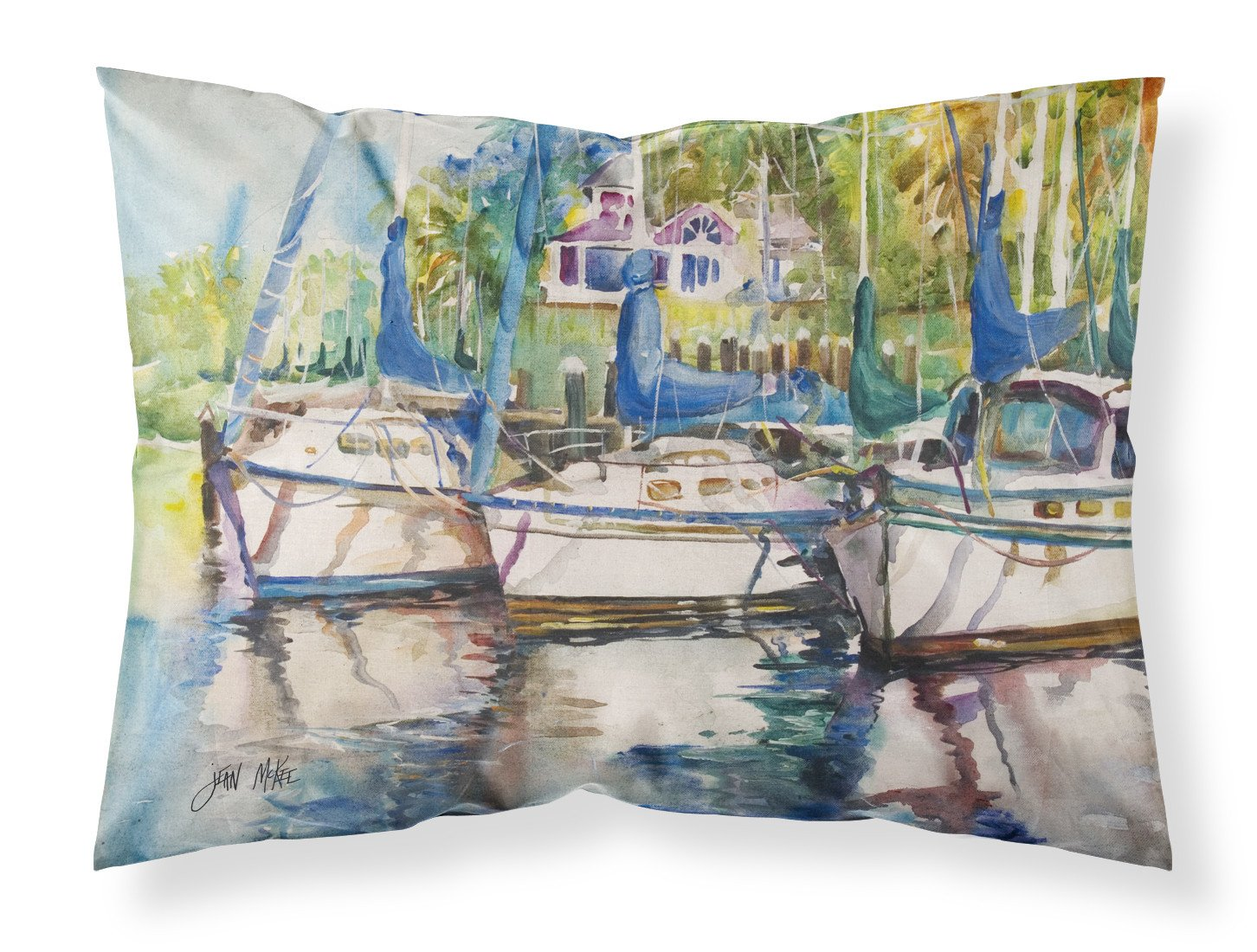 Safe Harbour Sailboats Fabric Standard Pillowcase JMK1071PILLOWCASE by Caroline's Treasures