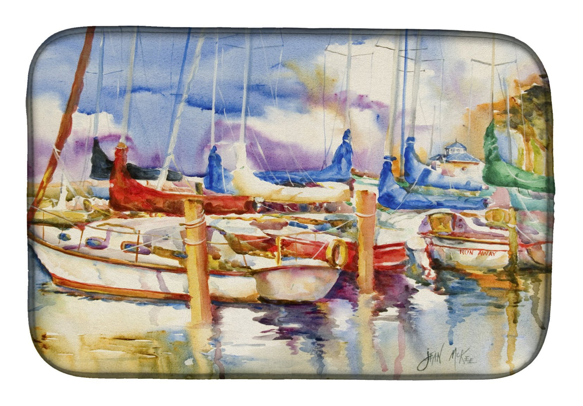 Buy this Run Away Sailboats Dish Drying Mat JMK1072DDM
