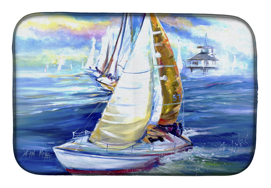Buy this Rock my Boat Sailboats Dish Drying Mat JMK1073DDM