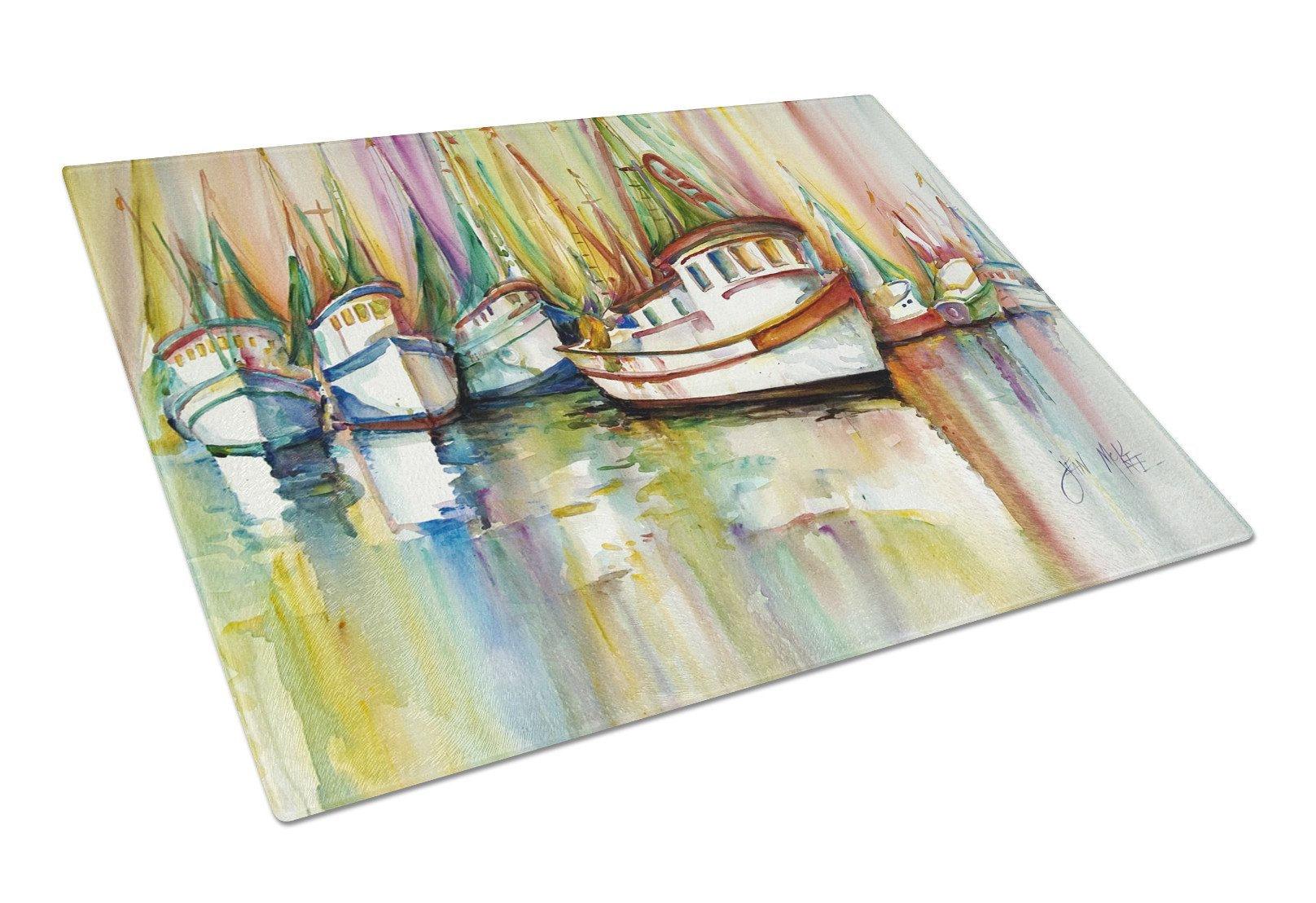 Shrimp Fleet Glass Cutting Board Large JMK1074LCB by Caroline's Treasures