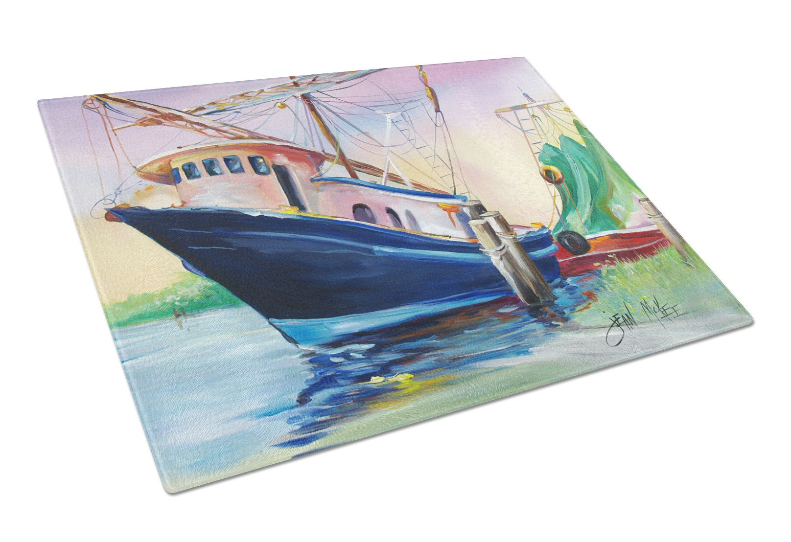 Shrimper Southern Star Glass Cutting Board Large JMK1078LCB by Caroline's Treasures