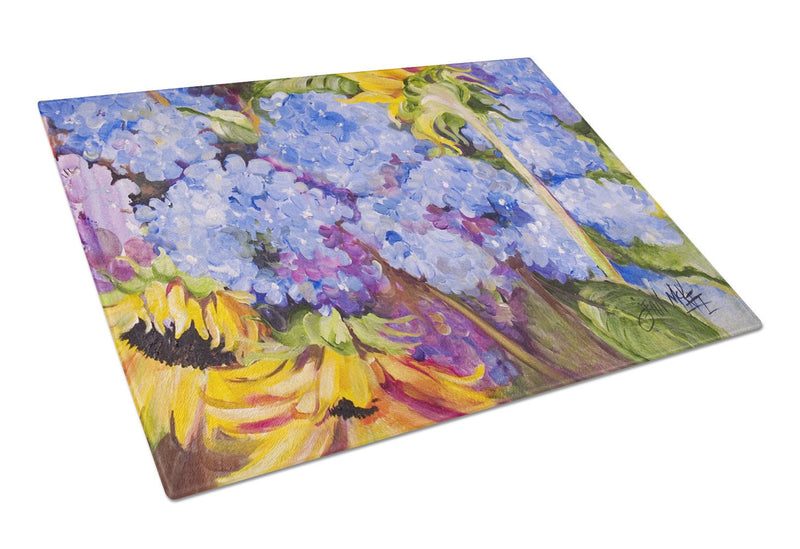 Buy this Hydrangeas and Sunflowers Glass Cutting Board Large JMK1119LCB