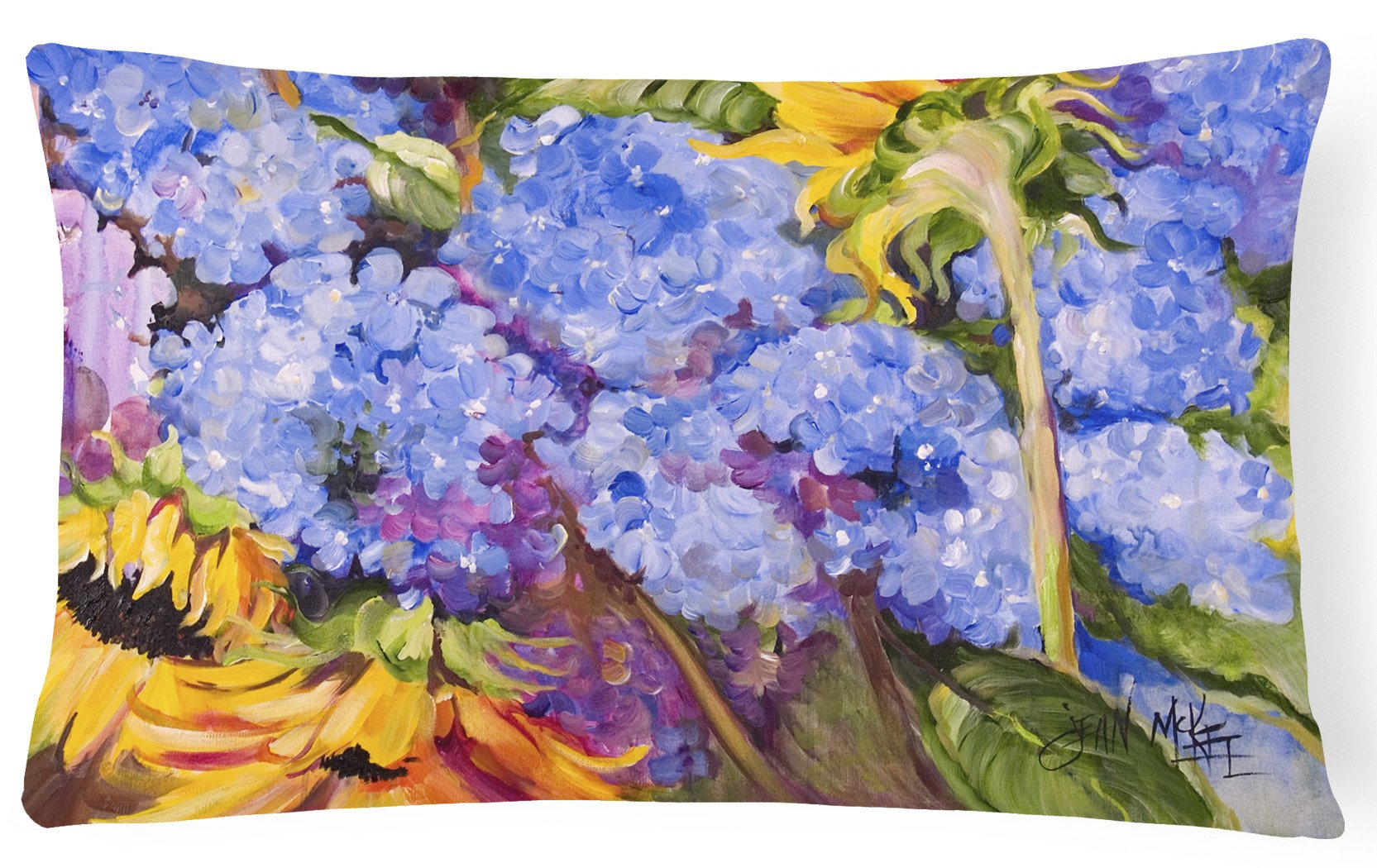 Buy this Hydrangeas and Sunflowers Canvas Fabric Decorative Pillow JMK1119PW1216