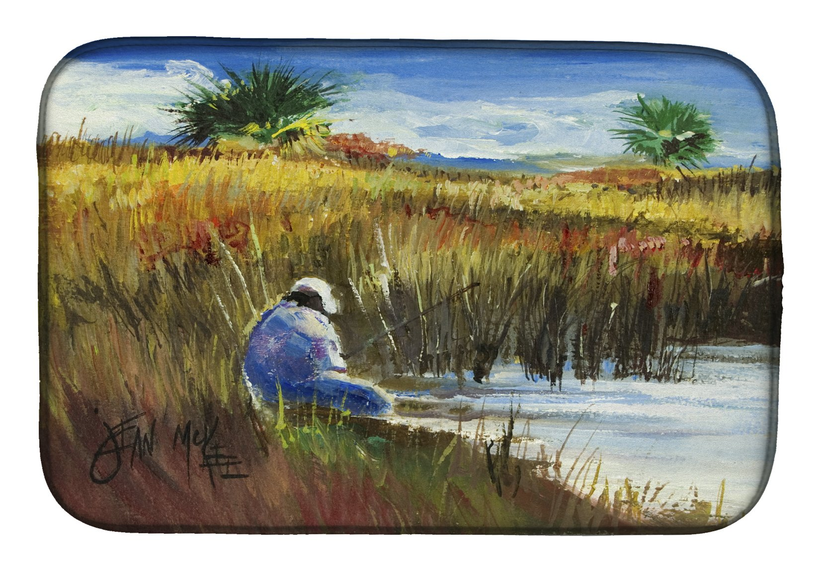 Fisherman on the Bank Dish Drying Mat JMK1125DDM by Caroline's Treasures