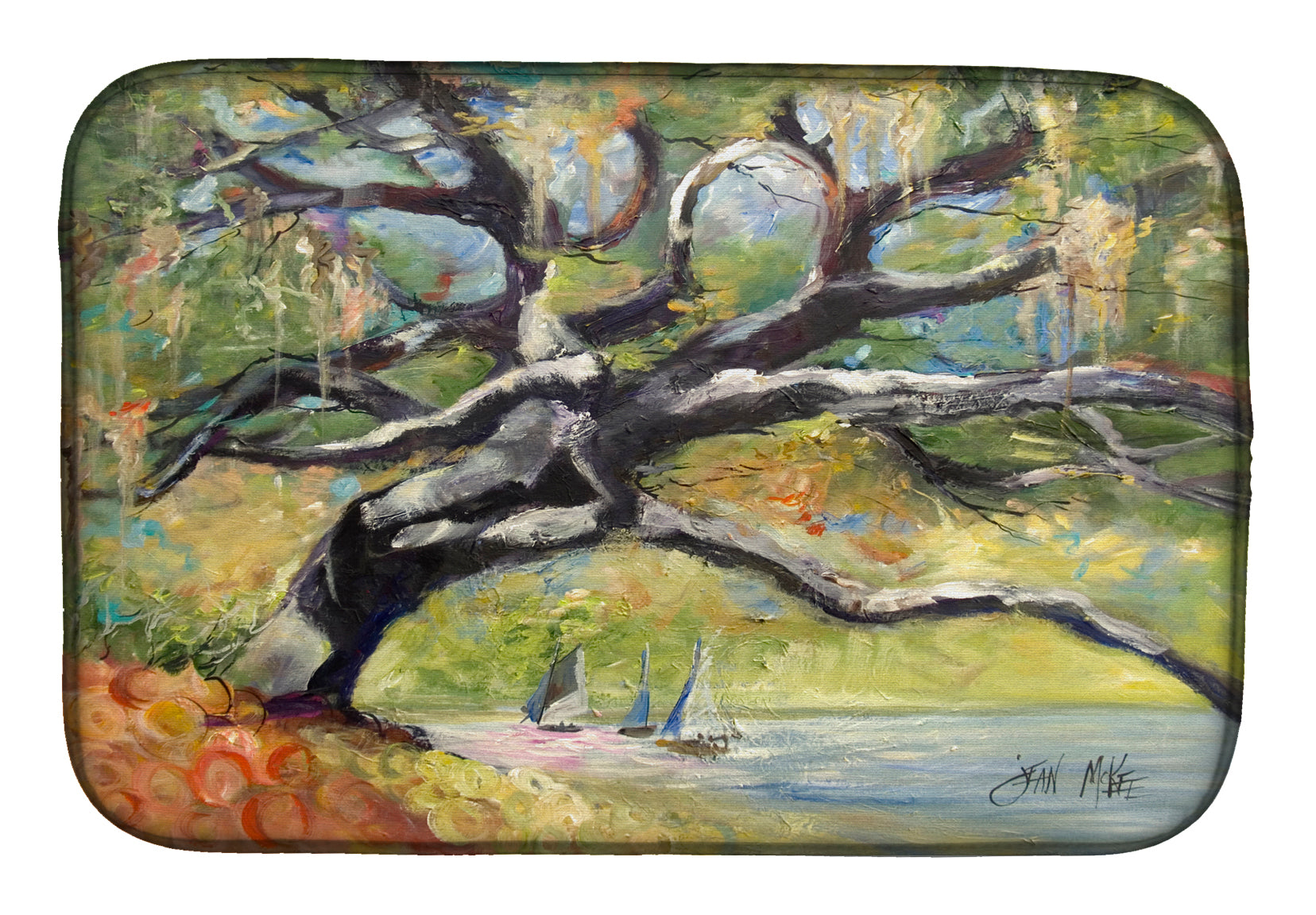 Buy this Oak Tree on the Bay with Sailboats Dish Drying Mat JMK1132DDM