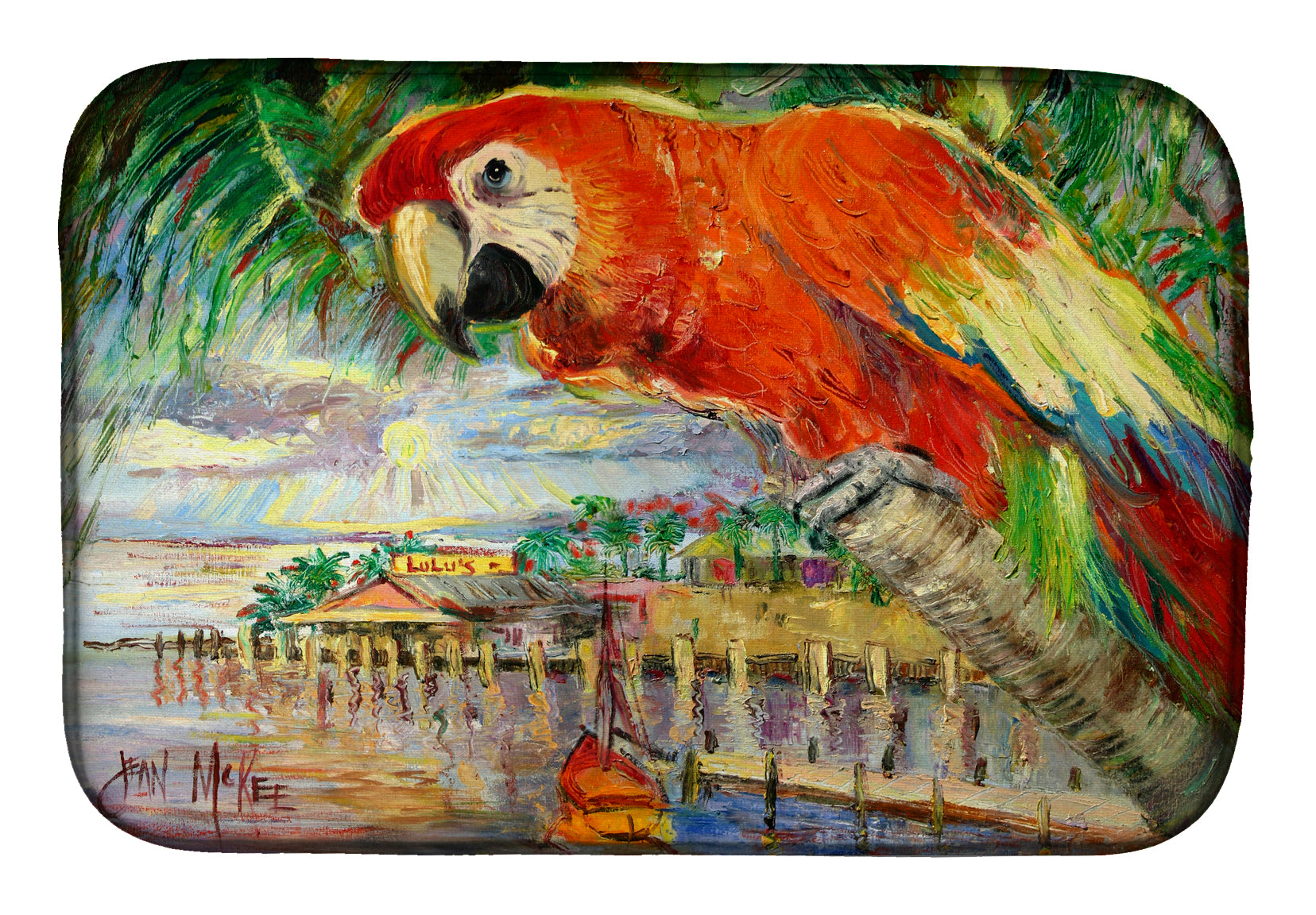 Red Parrot at Lulu's Dish Drying Mat JMK1134DDM by Caroline's Treasures