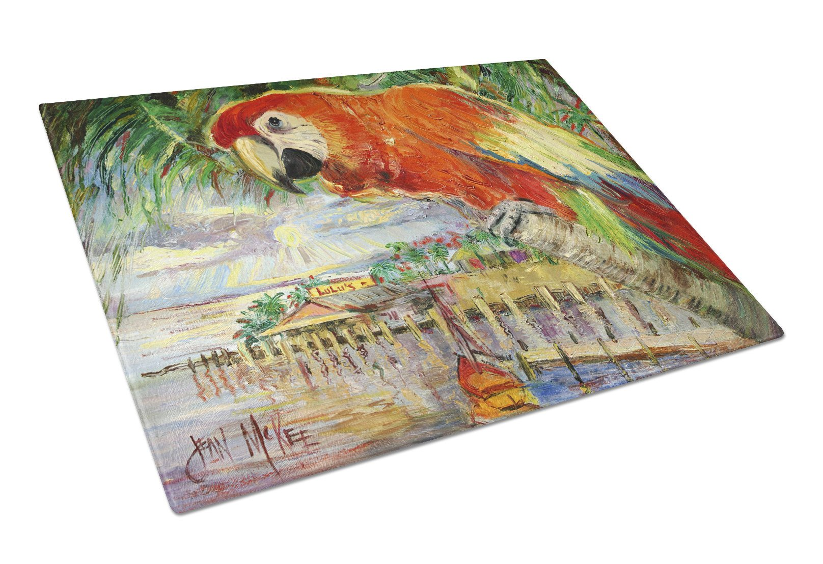 Red Parrot at Lulu's Glass Cutting Board Large JMK1134LCB by Caroline's Treasures