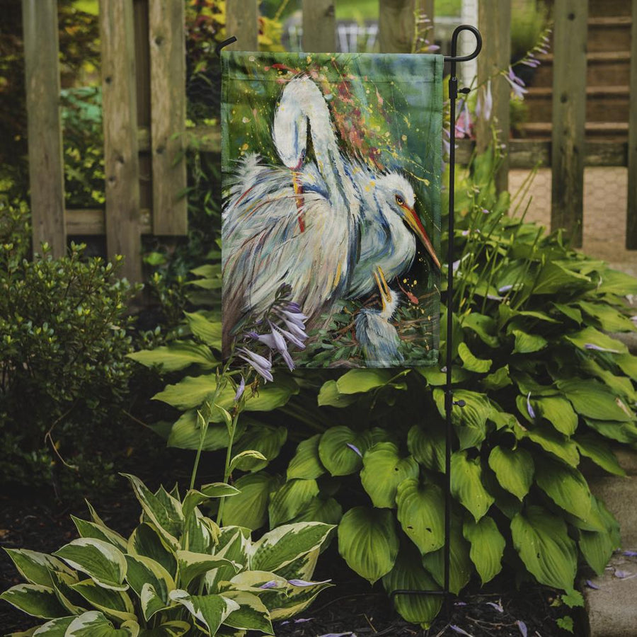 Buy this White Egret in the Rain Flag Garden Size JMK1139GF