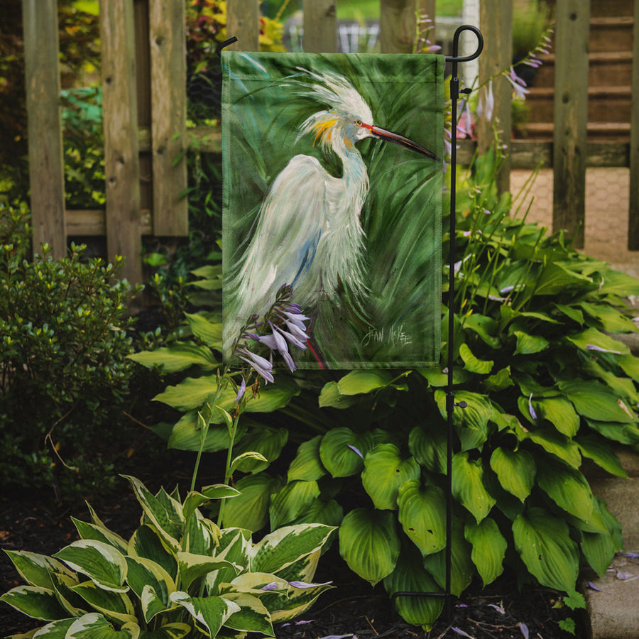Buy this White Egret in Green grasses Flag Garden Size JMK1141GF