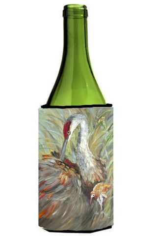 Buy this Sandhill Crane with baby Wine Bottle Beverage Insulator Hugger JMK1143LITERK