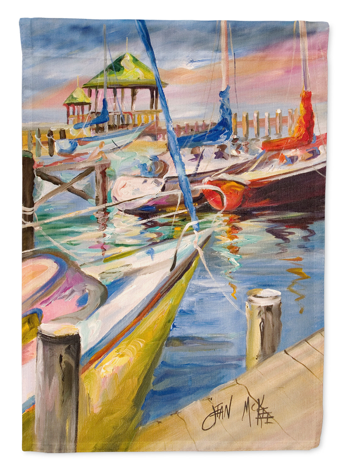 Buy this Boat Docks Sailboats Flag Garden Size JMK1151GF