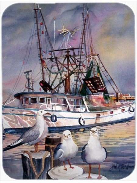 Sea Gulls and shrimp boats Glass Cutting Board Large JMK1196LCB by Caroline's Treasures