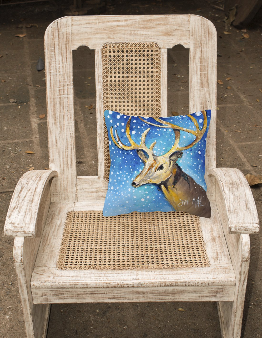 Reindeer Canvas Fabric Decorative Pillow JMK1206PW1414 by Caroline's Treasures