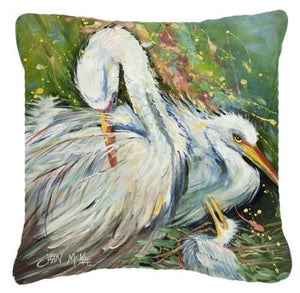 Buy this White Egret in the rain Canvas Fabric Decorative Pillow