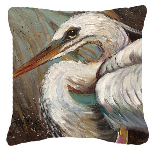 White Egret Canvas Fabric Decorative Pillow by Caroline's Treasures