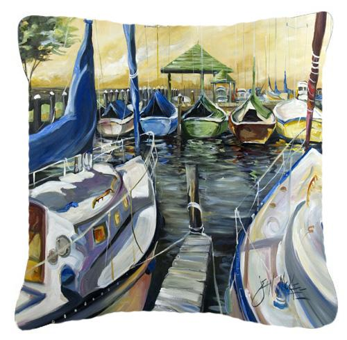 Seven Boats Sailboats Canvas Fabric Decorative Pillow by Caroline's Treasures