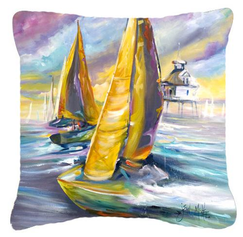 Middle Bay Lighthouse Sailboats Canvas Fabric Decorative Pillow by Caroline's Treasures