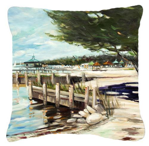 At the Pier Sailboats Canvas Fabric Decorative Pillow by Caroline's Treasures