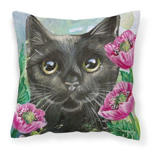 Buy this Black Cat in Flowers Fabric Decorative Pillow JYJ0176PW1414