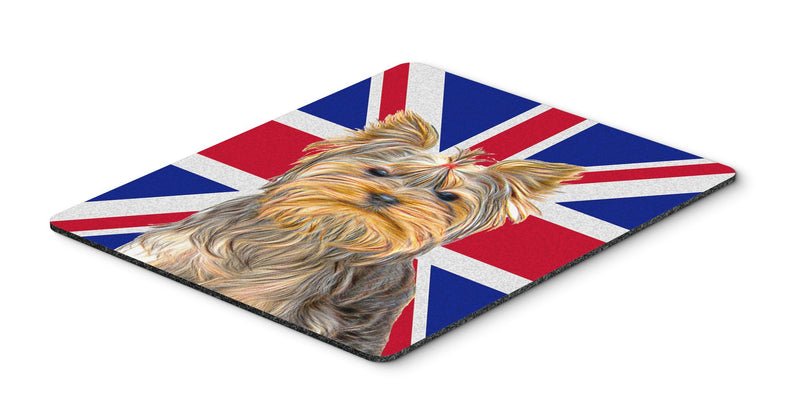 Buy this Yorkie / Yorkshire Terrier with English Union Jack British Flag Mouse Pad, Hot Pad or Trivet KJ1163MP